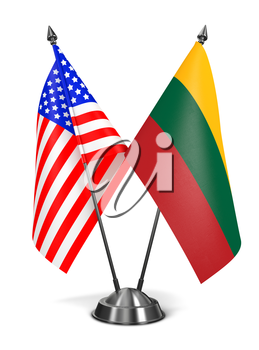 USA and Lithuania - Miniature Flags Isolated on White Background.