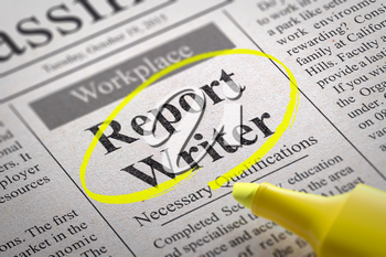 Report Writer Vacancy in Newspaper. Job Search Concept.