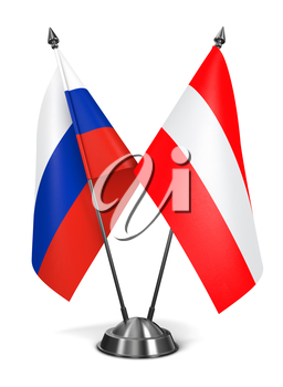 Russia and Austria - Miniature Flags Isolated on White Background.