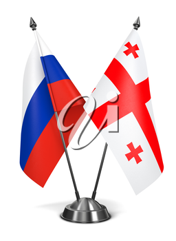 Russia and Georgia - Miniature Flags Isolated on White Background.