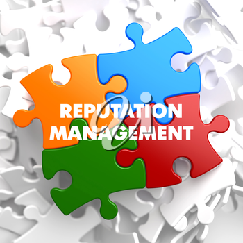Reputation Management on Multicolor Puzzle on White Background.