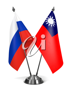 Russia and Republic China - Miniature Flags Isolated on White Background.
