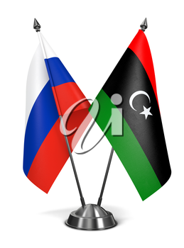 Russia and Libya - Miniature Flags Isolated on White Background.