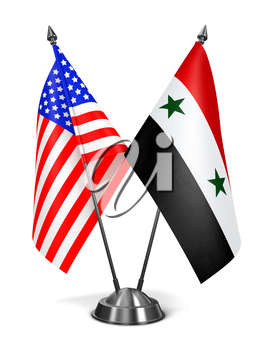 USA and Syria - Miniature Flags Isolated on White Background.