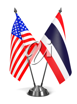 USA and Thailand - Miniature Flags Isolated on White Background.