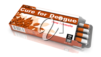 Cure for Dengue - Brown Open Blister Pack Tablets Isolated on White.