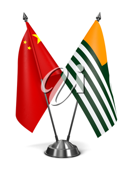 China and Azad Kashmir - Miniature Flags Isolated on White Background.
