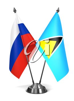 Russia and Saint Lucia - Miniature Flags Isolated on White Background.