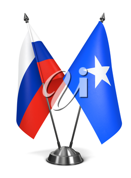 Russia and Somalia - Miniature Flags Isolated on White Background.