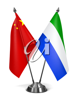China and Sierra Leone - Miniature Flags Isolated on White Background.