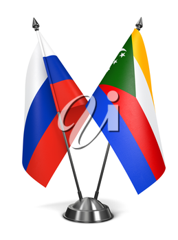 Russia and Comoros - Miniature Flags Isolated on White Background.