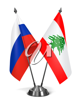 Russia and Lebanon - Miniature Flags Isolated on White Background.