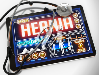 Hernia - Diagnosis on the Display of Medical Tablet and a Black Stethoscope on White Background.