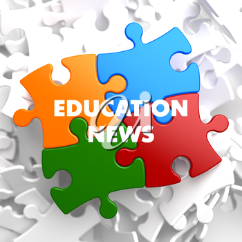 Education News on Multicolor Puzzle on White Background.