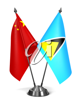 China and Saint Lucia - Miniature Flags Isolated on White Background.