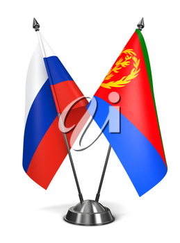 Russia and Eritrea - Miniature Flags Isolated on White Background.