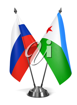 Russia and Djibouti - Miniature Flags Isolated on White Background.