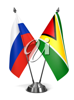 Royalty Free Clipart Image of Russia and Guyana Miniature Flags