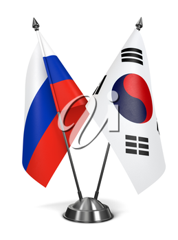 Royalty Free Clipart Image of Russia and South Korea Miniature Flags