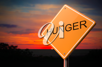 Royalty Free Clipart Image of a Hunger Warning Sign
