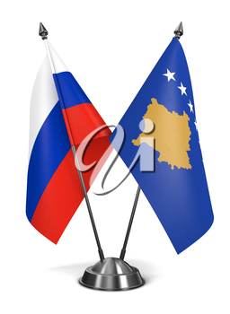 Royalty Free Clipart Image of Russia and Kosovo Miniature Flags