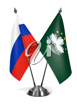 Royalty Free Clipart Image of Russia and Macau Miniature Flags