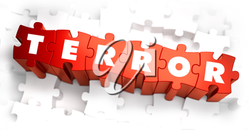 Royalty Free Clipart Image of a Terror Text on Puzzle Pieces