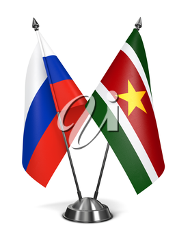 Royalty Free Clipart Image of Russia and Suriname Miniature Flags