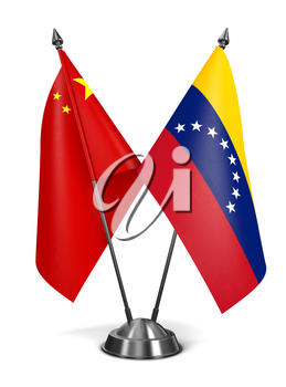 Royalty Free Clipart Image of China and Venezuelan Miniature Flags