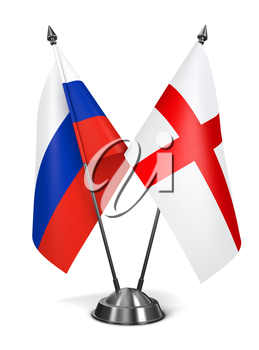 Royalty Free Clipart Image of Russia and England Miniature Flags