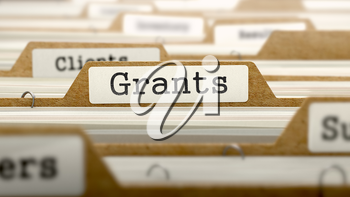 Royalty Free Clipart Image of Grants Text on a File Folder