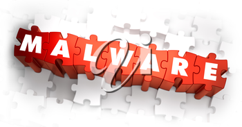 Malware - White Word on Red Puzzles. Selective Focus. 3D Render.