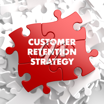 Customer Retention Strategy on Red Puzzle on White Background.