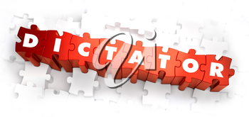 Dictator - Text on Red Puzzles on White Background. Selective Focus. 3D Render.