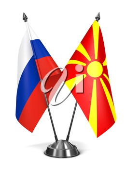Russia and Macedonia - Miniature Flags Isolated on White Background.