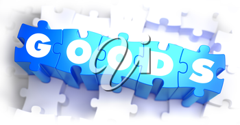 Goods - White Word on Blue Puzzles on White Background. 3D Illustration.