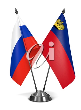 Russia and Liechtenstein - Miniature Flags Isolated on White Background.