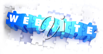 Website - White Word on Blue Puzzles on White Background. 3D Illustration.