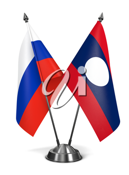 Russia and Laos - Miniature Flags Isolated on White Background.