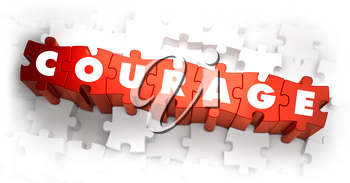 Courage - White Word on Red Puzzles on White Background. 3D Illustration.