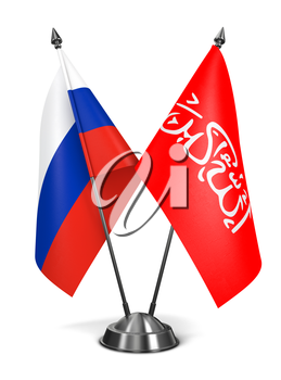 Russia and Waziristan - Miniature Flags Isolated on White Background.