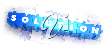 Solution - Text on Blue Puzzles on White Background. 3D Render.