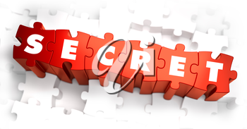 Secret - Text on Red Puzzles with White Background. 3D Render.