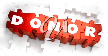 Donor - White Word on Red Puzzles on White Background. 3D Illustration.