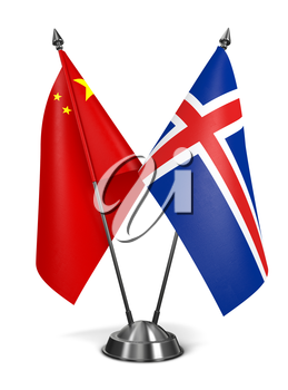 China and Iceland - Miniature Flags Isolated on White Background.