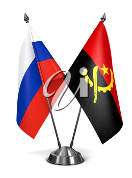 Russia and Angola - Miniature Flags Isolated on White Background.