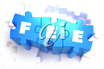 Fee - White Word on Blue Puzzles on White Background. 3D Illustration.