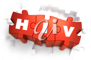 HIV - Text on Red Puzzles with White Background. 3D Render.