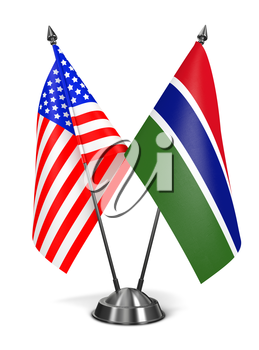 USA and Gambia - Miniature Flags Isolated on White Background.