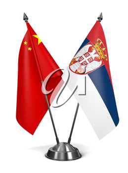 China and Serbia - Miniature Flags Isolated on White Background.